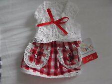 New Pet Dog Cotton Dress Small/XS Red & White Check