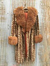 AMAZING Vintage 1970s Coat Real Sheepskin Fur Collar Trim Chevron Scallop Faux M