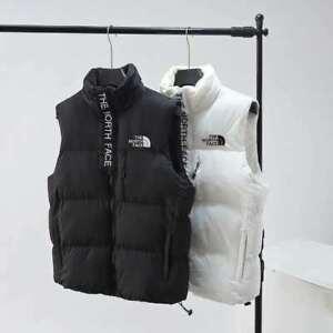 THE NORTH FACE700 Body Warm Women Men Coat Cotton Vest White Black Zipper Jacket