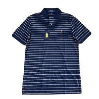 New w/tags Polo Ralph Lauren Short Sleeve Polo Shirt Blue White Stripes Men's S