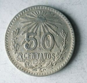 1939 MEXICO 50 CENTAVOS - AU GREAT Coin - HIGH VALUE SILVER COIN - Lot #Y5