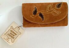 Vintage Leather Craft Suede Leather Womens Check Clutch wallet embroidered NOS