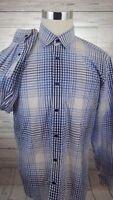 Joseph Abboud Collection Casual Dress Shirt Men's Large Blue Check Plaid