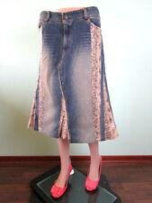 Femmes Vintage Denim une ligne Python en cuir synthétique Coton Jeans genou jupe 12 14 P57