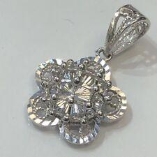 18K Solid  White Gold Flower Pendant Diamond Cut Women - 1.92 Grams