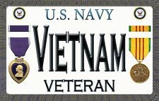 "Navy - Vietnam - Purple Heart - Magnetic Sign - 6"" L X 3.75"" H - Outdoor"