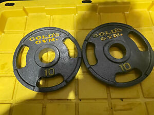 "VINTAGE 10 Lb Golds Gym 2"" Olympic Grip Weight Plates Set Of 2 - 20 lb Total"