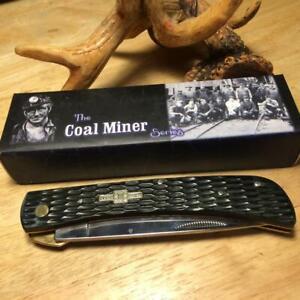 "Rough Rider The Coal Miner Black Jigged Bone Linerlock 4 3/4"" Work Knife  RR760"
