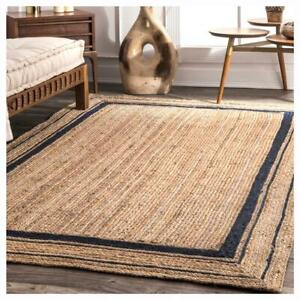 5x8 feet square natural jute rectangle rug with blue boundary home living rugs