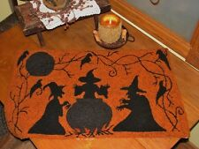 """PRIMITIVE HOOKED RUG PATTERN ON MONKS """"ALL HALLOWS EVE"""""""