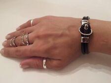 Unique Trending Punk Black Leather Bracelet With Silver Plated Hook