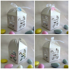 10pk Baby Shower White Pram Carriage Favour Box Decorations Favor Gift Boxes