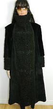 BLACK SHEARED RACCOON FUR COAT PERSIAN LAMB FUR TRIM Sz.2XL