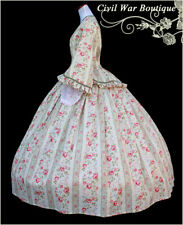 1800's Civil War Victorian Stripes and Roses Tea Dress Day Gown Made in Usa