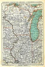 Alte Landkarte 1903: Vereinige Staaten von Amerika V. Wisconsin Illinois (B14RA)