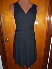 Inc International Concepts Black Ribbed Sleeveless Surplice Knit Sweater Dress S