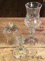 "Home Interiors/Homco 8.5"" Tall Crystal Glass Votive Cups Candle Holder Set of 2"