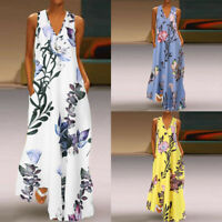ZANZEA Womens Sleeveless Floral Party Gown Long Dress Summer Kaftan Maxi Dresses