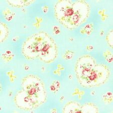 Cottage Shabby Chic Lecien Princess Rose Hearts Cotton Fabric 31266L-70 Blue BTY