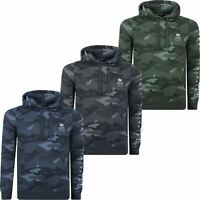 Mens Crosshatch Camo Hoodie Pullover All Over Army Hooded Jacket Sweatshirt
