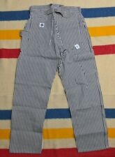 NEW Post Overalls Hickory Striped Buckle Back Conductors Engineer Work Pants L
