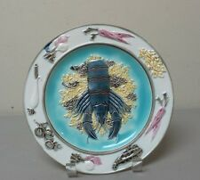 """19th C. ENGLISH WEDGWOOD MAJOLICA ART POTTERY 8.5"""" PLATE, LOBSTER & VEGETABLES"""