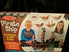 MELISSA & DOUG PIRATE SHIP 3-D PUZZLE & SHIP IN ONE, 100+pcs., 9045 New