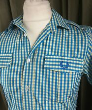 """Fred Perry Blue Yellow Cotton Gingham Shirt Sleeve Military Epaulettes C38"""""""