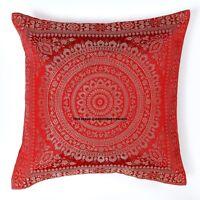 "Indian Mandala Brocade Cushion Cover Decorative Silk Pillow Case Cover Throw 16"""