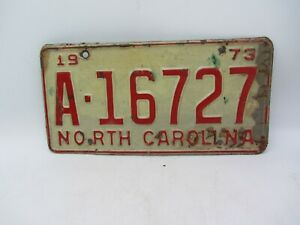 VTG ORIGINAL 1973 NORTH CAROLINA NC LICENSE PLATE TAG A-16727 RED