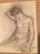 Edouard Chimot French 1880-1959 Original Charcoal Graphite Drawing Of Nude Woman