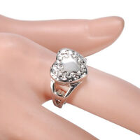 Creative Silver Love Heart Ring Cremation Urn Memorial Ash Ring Jewelry Size 6-9