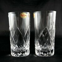 Pair stunning Royal Brierley Vintage Lead Crystal Mixer Glasses Tumbler Highball