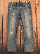 BUCKLE BLACK Jeans No. 7 FIT Straight Leg Destroyed Mens Sz 32 (act 35 X 31) PIC