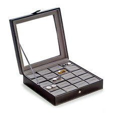 MENS GIFTS - BLACK LEATHER CUFF LINK CASE - HOLDS 20 PAIR - CUFFLINK BOX