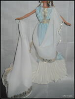 DRESS BARBIE GODDESS OF BEAUTY BLUE IVORY GOLD EVENING GOWN CLOTHING ACCESSORY