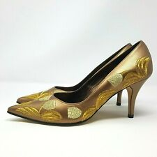 LOLA Ladies Court Shoes UK 6 Bronze Stiletto Heels Gold Leaf Embroidery Dress