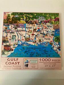 SunsOut Gulf Coast 1000 Piece Jigsaw Puzzle Map Gulf of Mexico USA