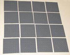 LEGO LOT OF 16 DARK BLUISH GREY 8 X 8 DOT PLATES PLATFORMS BUILDING BLOCKS