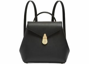 Calvin Klein Womens Lock Leather Backpack Black One Size