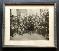 Orig Photograph 1880s SPANISH AMERICAN WAR Era army Navy Band TALL SHIP Military