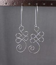 """silver tone earrings scroll swirl bendy wire wrap 3.25"""" long lightweight dangle"""