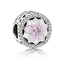 """Pandora Charm Bead 792085PCZ """" Magnolie """" Emaille 925 Sterlingsilber"""