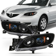 Black 2004-2009 Mazda 3 Sedan Headlights Halogen Projector Headlamps Left+Right