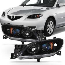 Black 2004-2009 Mazda 3 Sedan Headlights Halogen Projector Headlamps Left+Right