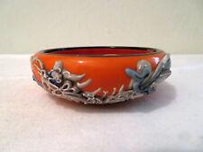 Vtg Small Orange Ceramic Dragon Raised Design Plant Holder Dish Made in Japan