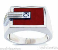 Mens Gold Ring Diamond Red Quartz 14K White Gold