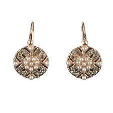 SUPERBE Boucles d'oreilles cristaux perles Or rose 18K  Argent  Vermeil Contempo