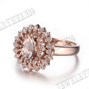 Pave Setting Oval 9X7mm Morganite Natural SI/H Diamonds Fine Ring 18k Rose Gold