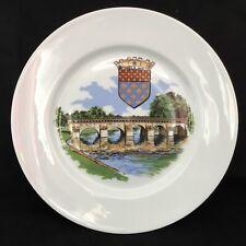 Assiette plate en porcelaine de limoge - Décor pont de Meulan et Blason - Neuve